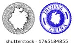 Mesh hole round Zhejiang Province map and grunge stamp. Zhejiang Province map is a hole in a round seal. Web mesh vector Zhejiang Province map in a circle. Blue round grunge seal.