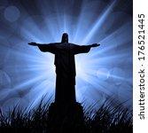 jesus in a grass  and dark sky... | Shutterstock . vector #176521445