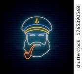 Neon Old Sailor Captain With...
