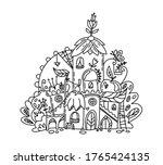 cute fairy tale town in hand... | Shutterstock .eps vector #1765424135