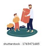 bearded father hold big gift... | Shutterstock .eps vector #1765471685