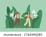 travelers in the jungle. people ... | Shutterstock .eps vector #1765490285