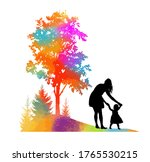 mother with her daughter in her ... | Shutterstock .eps vector #1765530215