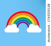 color rainbow sign with clouds  ... | Shutterstock .eps vector #1765535138