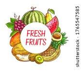 fresh fruits sketch poster ...   Shutterstock .eps vector #1765547585