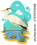 heron bird in a pond...   Shutterstock .eps vector #1765555688