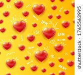 red hearts seamless pattern on... | Shutterstock .eps vector #1765563995