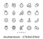 fruits line icons set vector | Shutterstock .eps vector #1765615562