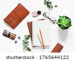 women's table with notebooks ...   Shutterstock . vector #1765644122
