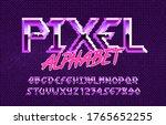 pixel alphabet font. hard rock... | Shutterstock .eps vector #1765652255