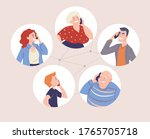group of people talking with... | Shutterstock .eps vector #1765705718