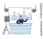 male newscaster reporting tv... | Shutterstock .eps vector #1765731092