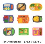 meal trays filled with food... | Shutterstock .eps vector #1765743752