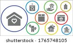 residential icon set. 9 filled... | Shutterstock .eps vector #1765748105