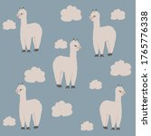 alpaca and clouds seamless... | Shutterstock .eps vector #1765776338