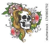 skull and flowers hand drawn... | Shutterstock .eps vector #1765803752