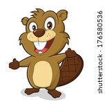 beaver in welcoming gesture | Shutterstock .eps vector #176580536