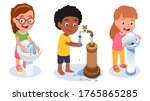 girl kid pouring water into... | Shutterstock .eps vector #1765865285