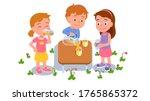boy sharing lemonade or juice... | Shutterstock .eps vector #1765865372