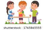 boy sharing lemonade or juice...   Shutterstock .eps vector #1765865555