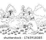 hunter is ambushed in the bush... | Shutterstock .eps vector #1765918385