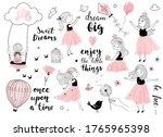 little girl with bird  cute...   Shutterstock .eps vector #1765965398