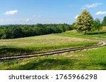 Mowed Meadow. Railway Track For ...