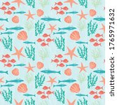 Sea And Red Fish Pattern Design