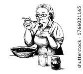 grandmother prepares jam ... | Shutterstock .eps vector #1766021165