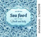 sea food. octopus tentacles  ... | Shutterstock .eps vector #176605598