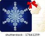 Diamond snowflake / Christmas background with tag and copy space for your text - stock vector
