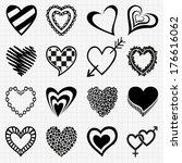 hand drawn set of black heart... | Shutterstock .eps vector #176616062