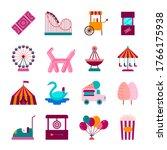 cartoon color amusement park on ... | Shutterstock .eps vector #1766175938