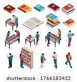 isometric book fair exhibition...   Shutterstock .eps vector #1766183432