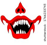 Evil Clown Face With Red Lips...