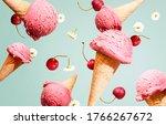 Floating Ice Cream Cherries And ...
