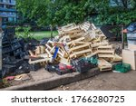 A Large Pile Of Wooden ...