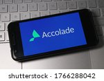 Small photo of Westerville,Ohio/United States-June 2020: Accolade Inc logo on phone. Company files for IPO Stock offering.