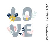 floral hand drawn print with... | Shutterstock .eps vector #1766301785