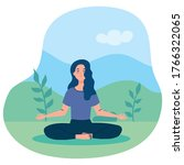 woman meditating  concept for... | Shutterstock .eps vector #1766322065