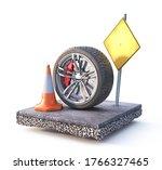 wheel on the piece of asphalt... | Shutterstock . vector #1766327465