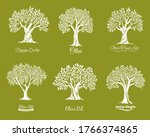 olive trees farm icons vector...   Shutterstock .eps vector #1766374865