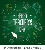 happy teachers day chalk sketch ... | Shutterstock .eps vector #1766374898
