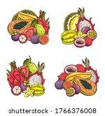tropical fruits vector sketch....   Shutterstock .eps vector #1766376008