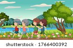 scene with old people running...   Shutterstock .eps vector #1766400392