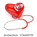 stethoscope and red heart... | Shutterstock . vector #176640755