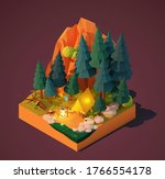 vector isometric camping in the ... | Shutterstock .eps vector #1766554178