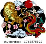 dragon fighting with tiger... | Shutterstock .eps vector #1766575922