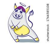 Cute Cartoon Bull With A Nimbus ...
