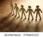 group of paper people holding... | Shutterstock . vector #176661212